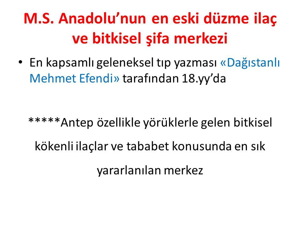 M.S. Anadolu'nun en eski düzme ilaç ve bitkisel şifa merkezi En kapsamlı geleneksel tıp yazması «Dağıstanlı Mehmet Efendi» tarafından 18.yy'da *****An