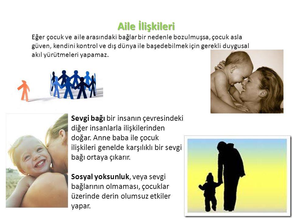 Aile İlişkileri Eğer çocuk ve aile arasındaki bağlar bir nedenle bozulmuşsa, çocuk asla güven, kendini kontrol ve dış dünya ile başedebilmek için gere