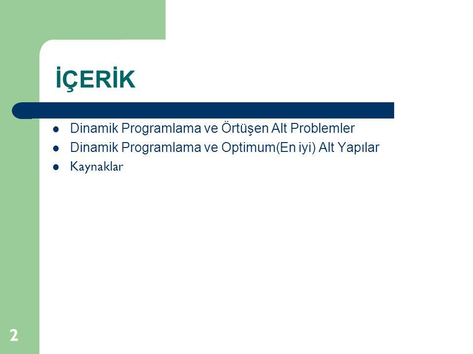 İÇERİK 2 Dinamik Programlama Dinamik Programlama ve Örtüşen Alt Problemler Dinamik Programlama ve Optimum(En iyi) Alt Yapılar Kaynaklar