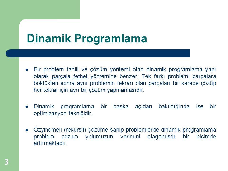 Dinamik Programlama 3 Bir problem tahlil ve çözüm yöntemi olan dinamik programlama yapı olarak parçala fethet yöntemine benzer. Tek farkı problemi par