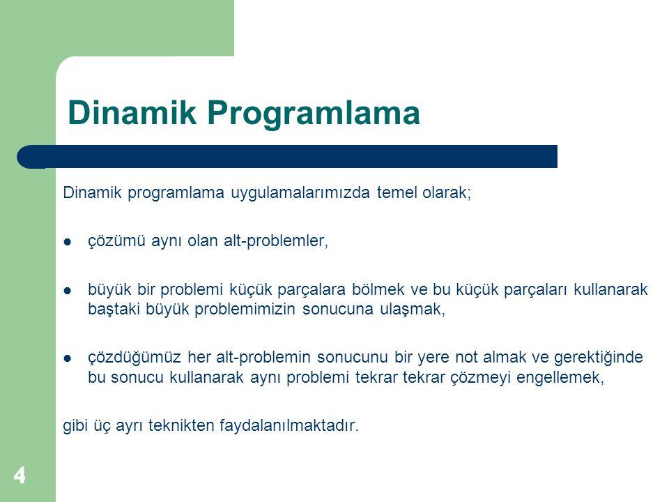 Dinamik Programlama 4 Dinamik programlama uygulamalarımızda temel olarak; çözümü aynı olan alt-problemler, büyük bir problemi küçük parçalara bölmek v