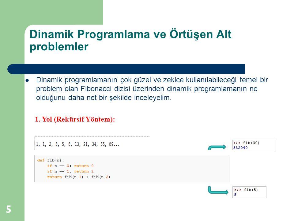 Dinamik Programlama ve Örtüşen Alt problemler 6 Örtüşme Tablosu : Dikkat edilirse fonksiyonlar açıldı ğ ında kendisinden önceki iki sayının toplamını bulmakta ve bu işlemi yaparken de ortak elemanlar kullanmaktadır.