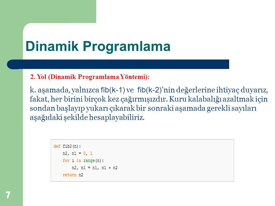 Dinamik Programlama 7 2. Yol (Dinamik Programlama Yöntemi): k. aşamada, yalnızca fib(k-1) ve fib(k-2) 'nin değerlerine ihtiyaç duyarız, fakat, her bir