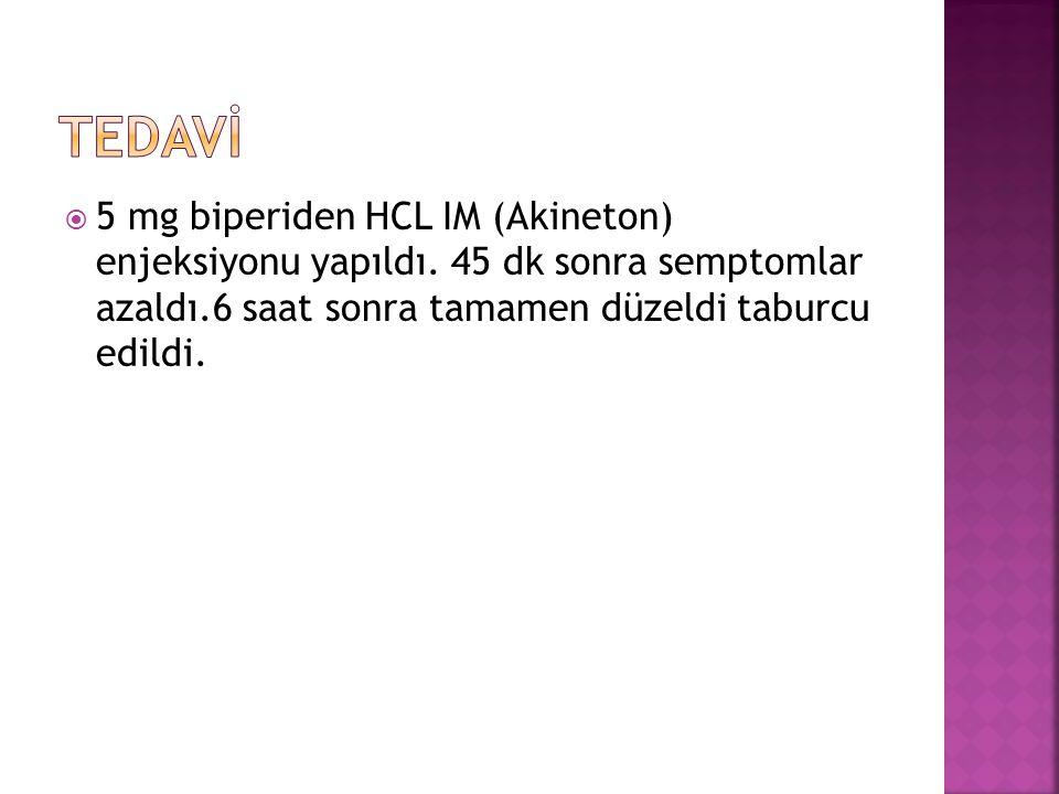  5 mg biperiden HCL IM (Akineton) enjeksiyonu yapıldı.