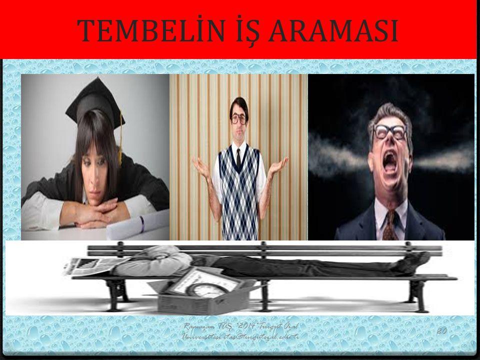 TEMBELİN İŞ ARAMASI Ramazan TAŞ *2014*Turgut Özal Üniversitesi rtas@turgutozal.edu.tr 20