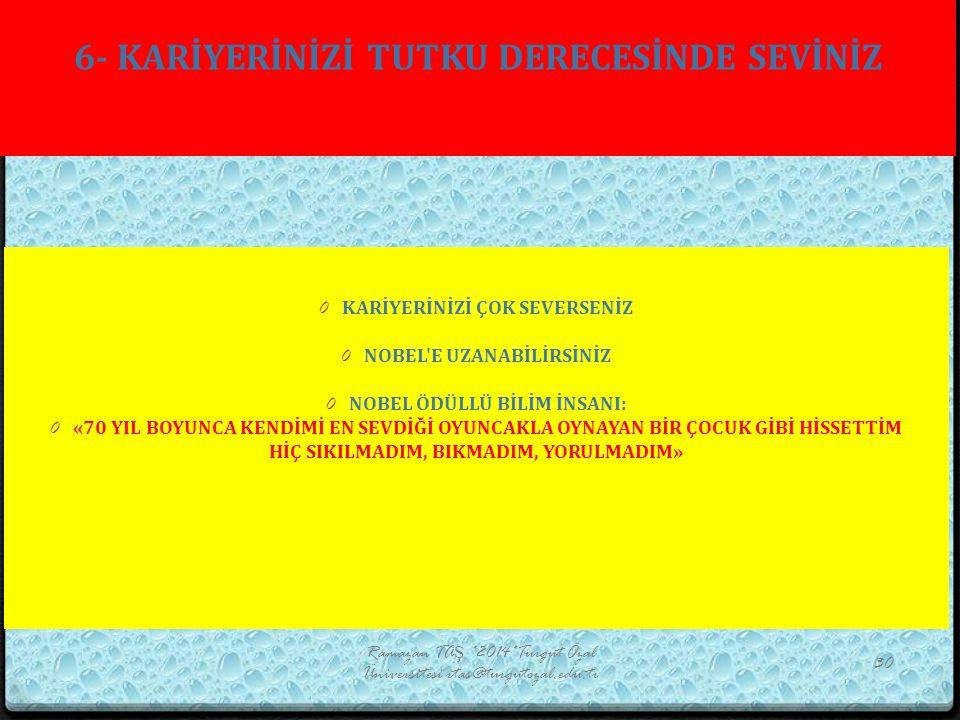 6- KARİYERİNİZİ TUTKU DERECESİNDE SEVİNİZ Ramazan TAŞ *2014*Turgut Özal Üniversitesi rtas@turgutozal.edu.tr 30 0 KARİYERİNİZİ ÇOK SEVERSENİZ 0 NOBEL'E