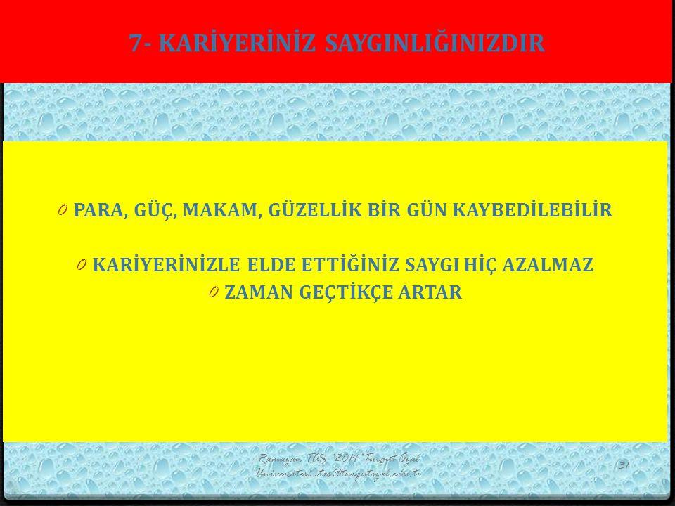 7- KARİYERİNİZ SAYGINLIĞINIZDIR Ramazan TAŞ *2014*Turgut Özal Üniversitesi rtas@turgutozal.edu.tr 31 0 PARA, GÜÇ, MAKAM, GÜZELLİK BİR GÜN KAYBEDİLEBİL