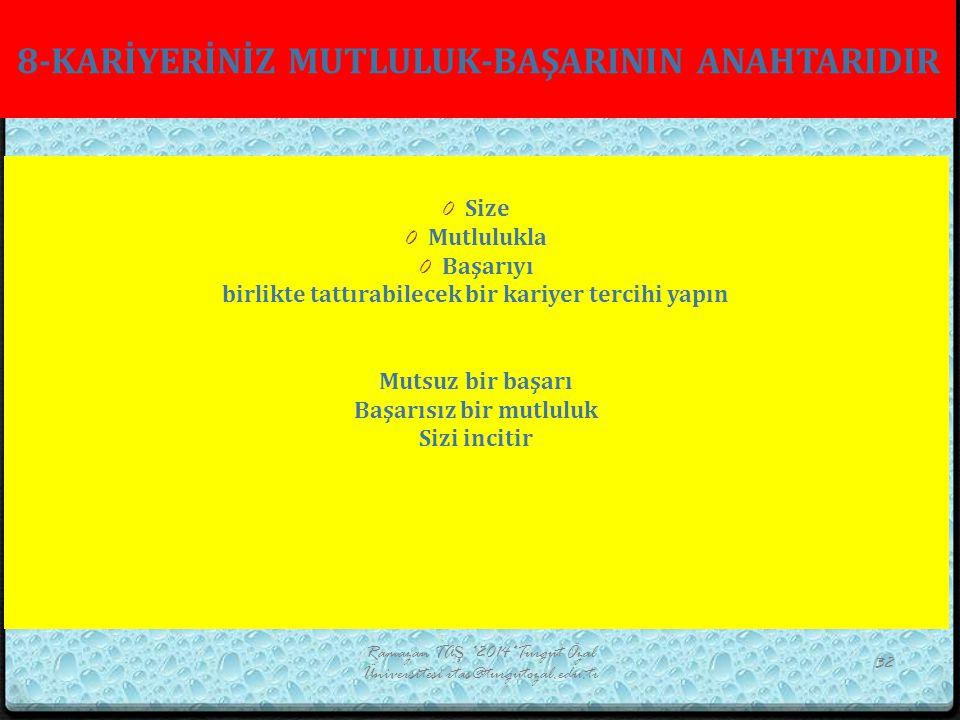 8-KARİYERİNİZ MUTLULUK-BAŞARININ ANAHTARIDIR Ramazan TAŞ *2014*Turgut Özal Üniversitesi rtas@turgutozal.edu.tr 32 0 Size 0 Mutlulukla 0 Başarıyı birli