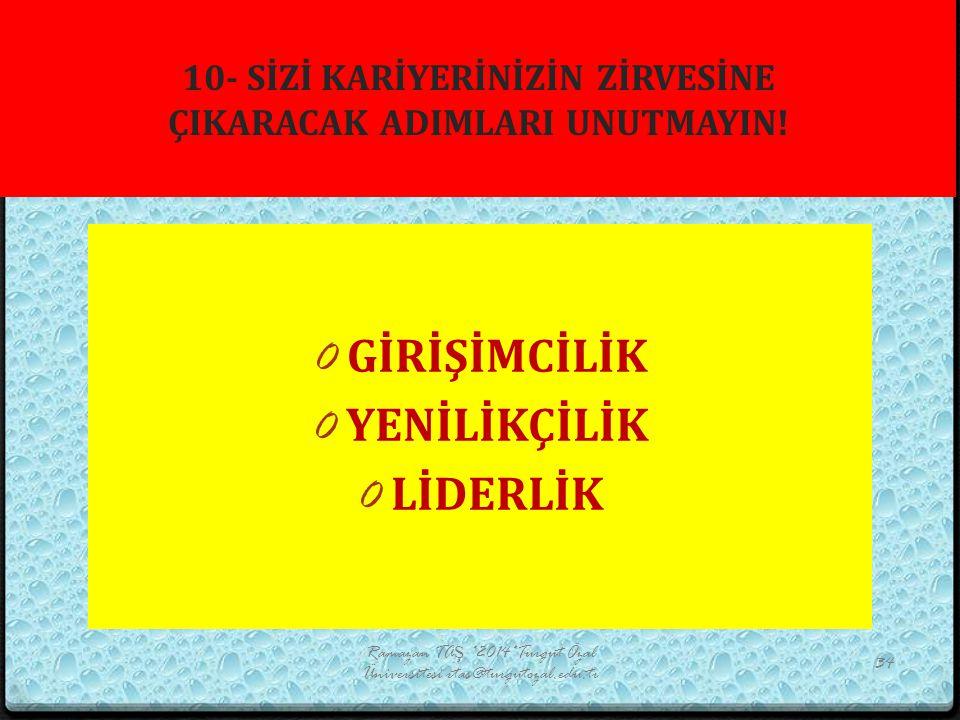 10- SİZİ KARİYERİNİZİN ZİRVESİNE ÇIKARACAK ADIMLARI UNUTMAYIN! Ramazan TAŞ *2014*Turgut Özal Üniversitesi rtas@turgutozal.edu.tr 34 0 GİRİŞİMCİLİK 0 Y