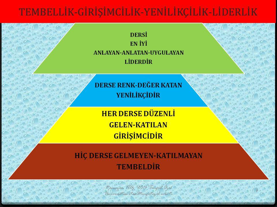 TEMBELİN CV'Sİ Ramazan TAŞ *2014*Turgut Özal Üniversitesi rtas@turgutozal.edu.tr 15