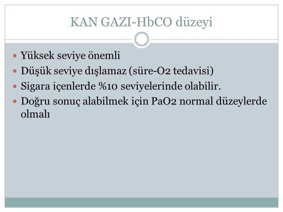 KAN GAZI-HbCO düzeyi Yüksek seviye önemli Düşük seviye dışlamaz (süre-O2 tedavisi) Sigara içenlerde %10 seviyelerinde olabilir. Doğru sonuç alabilmek