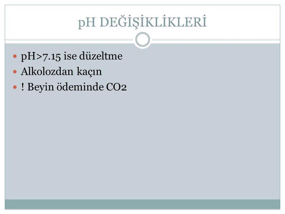 pH DEĞİŞİKLİKLERİ pH>7.15 ise düzeltme Alkolozdan kaçın ! Beyin ödeminde CO2