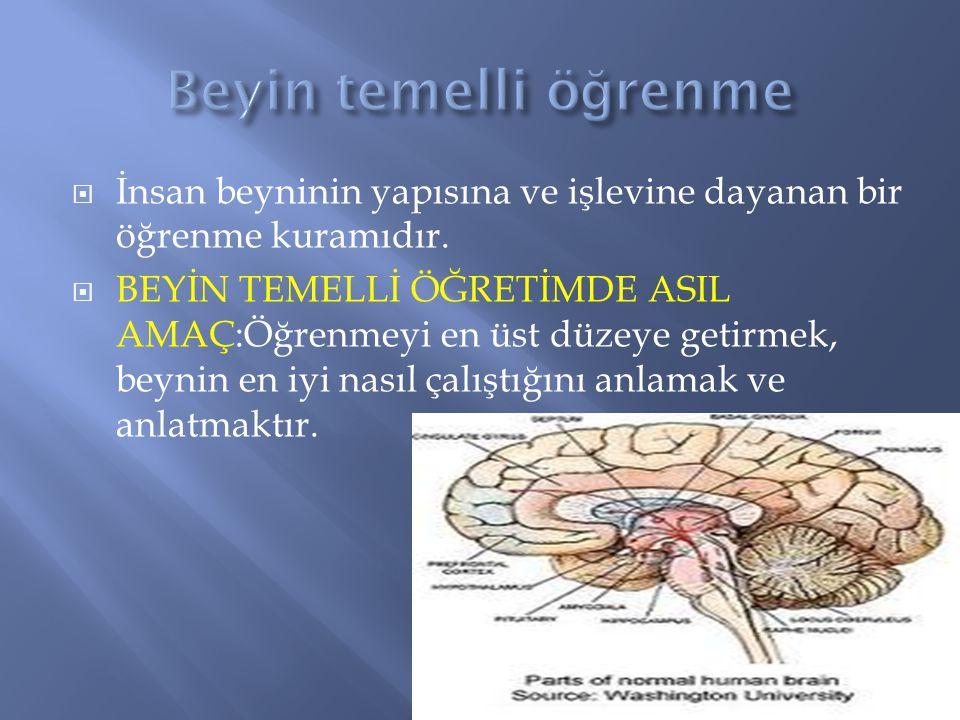  İnsan beyninin yapısına ve işlevine dayanan bir öğrenme kuramıdır.  BEYİN TEMELLİ ÖĞRETİMDE ASIL AMAÇ:Öğrenmeyi en üst düzeye getirmek, beynin en i