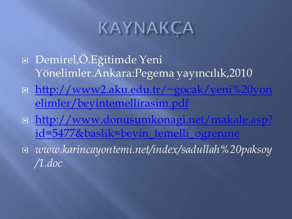  Demirel,Ö.Eğitimde Yeni Yönelimler.Ankara:Pegema yayıncılık,2010  http://www2.aku.edu.tr/~gocak/yeni%20yon elimler/beyintemellirasim.pdf http://www