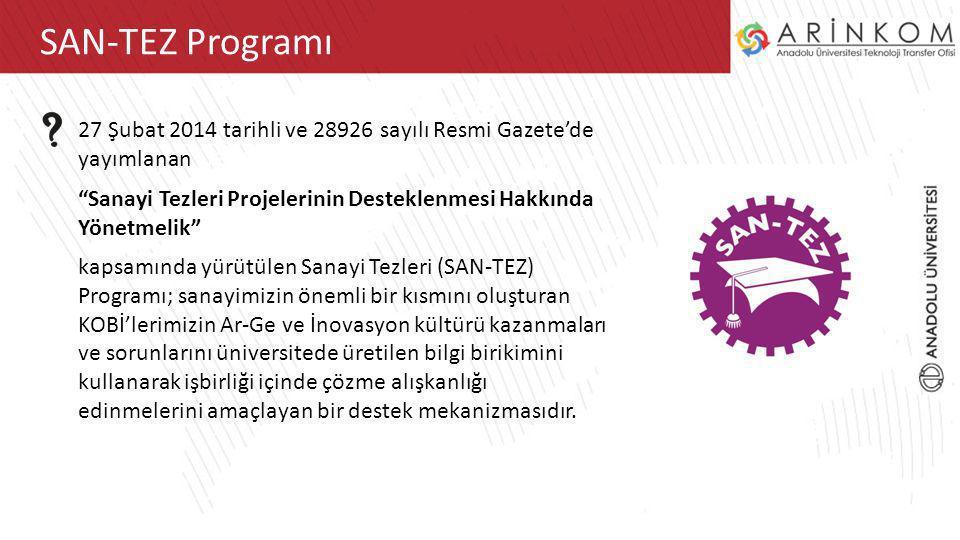ARİNKOM TTOSAN-TEZ Programı 27 Şubat 2014 tarihli ve 28926 sayılı Resmi Gazete'de yayımlanan Sanayi Tezleri Projelerinin Desteklenmesi Hakkında Yönetmelik kapsamında yürütülen Sanayi Tezleri (SAN-TEZ) Programı; sanayimizin önemli bir kısmını oluşturan KOBİ'lerimizin Ar-Ge ve İnovasyon kültürü kazanmaları ve sorunlarını üniversitede üretilen bilgi birikimini kullanarak işbirliği içinde çözme alışkanlığı edinmelerini amaçlayan bir destek mekanizmasıdır.