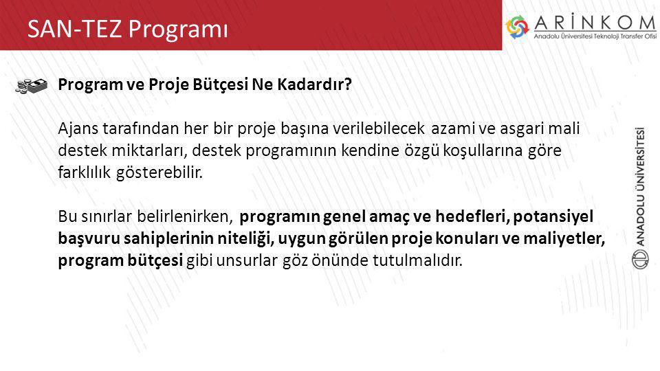 ARİNKOM TTOSAN-TEZ Programı Program ve Proje Bütçesi Ne Kadardır? Ajans tarafından her bir proje başına verilebilecek azami ve asgari mali destek mikt