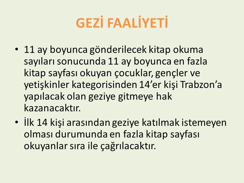 GEZİ FAALİYETİ 11 ay boyunca gönderilecek kitap okuma sayıları sonucunda 11 ay boyunca en fazla kitap sayfası okuyan çocuklar, gençler ve yetişkinler kategorisinden 14'er kişi Trabzon'a yapılacak olan geziye gitmeye hak kazanacaktır.