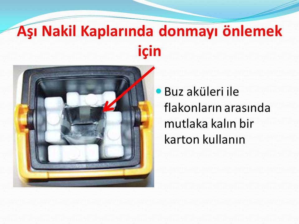 Aşı Nakil Kaplarında donmayı önlemek için Buz aküleri ile flakonların arasında mutlaka kalın bir karton kullanın
