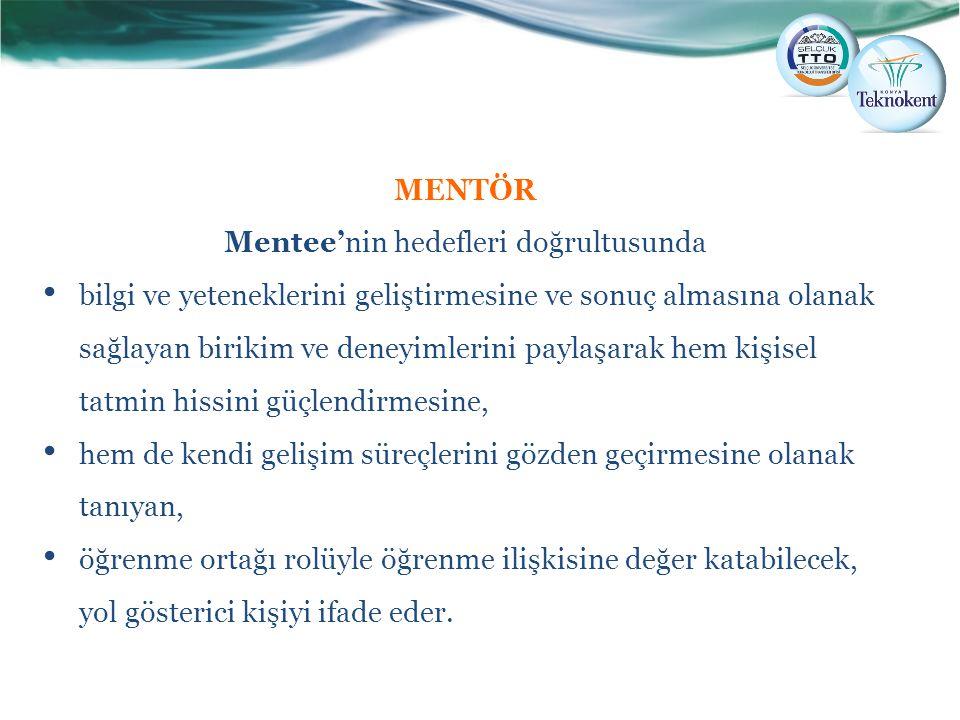 MENTÖR Mentee'nin hedefleri doğrultusunda bilgi ve yeteneklerini geliştirmesine ve sonuç almasına olanak sağlayan birikim ve deneyimlerini paylaşarak