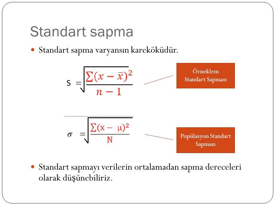 Standart sapma Standart sapma varyansın kareköküdür. Standart sapmayı verilerin ortalamadan sapma dereceleri olarak dü ş ünebiliriz. Örneklem Standart