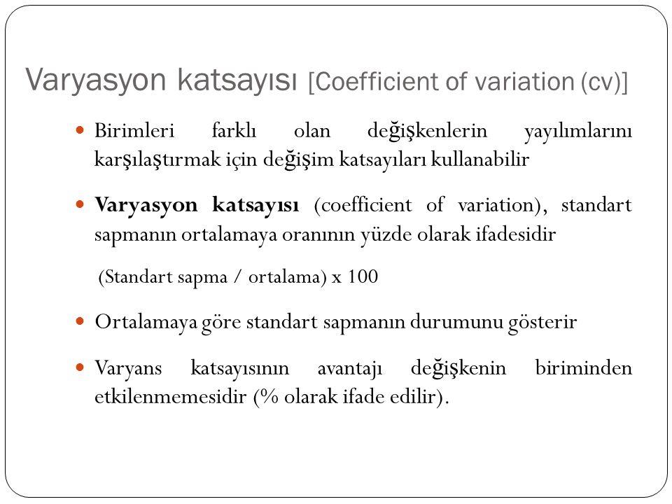 Varyasyon katsayısı [Coefficient of variation (cv)] Birimleri farklı olan de ğ i ş kenlerin yayılımlarını kar ş ıla ş tırmak için de ğ i ş im katsayıl