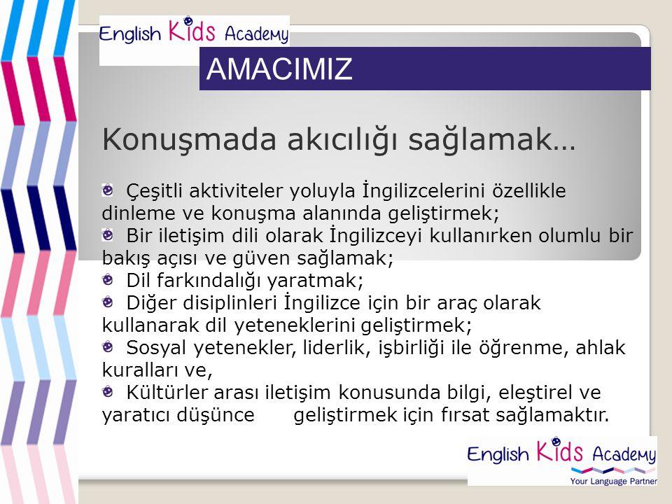 AMACIMIZ Konuşmada akıcılığı sağlamak… Çeşitli aktiviteler yoluyla İngilizcelerini özellikle dinleme ve konuşma alanında geliştirmek; Bir iletişim dil