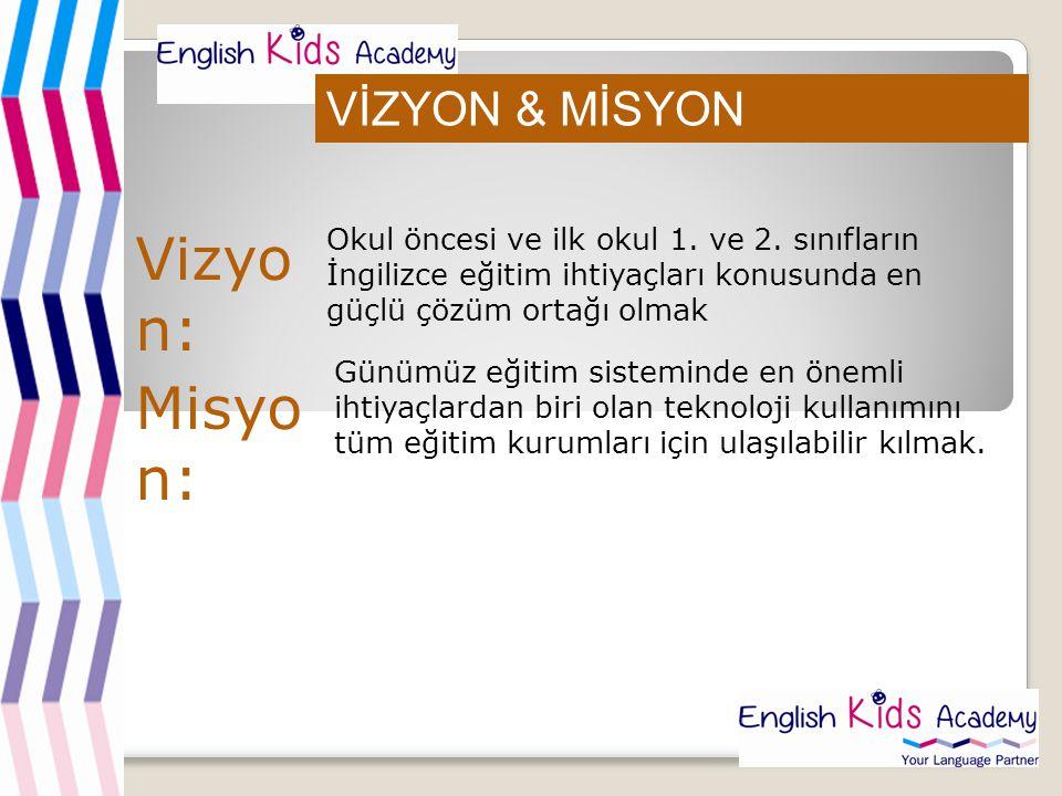 VİZYON & MİSYON Okul öncesi ve ilk okul 1. ve 2. sınıfların İngilizce eğitim ihtiyaçları konusunda en güçlü çözüm ortağı olmak Günümüz eğitim sistemin
