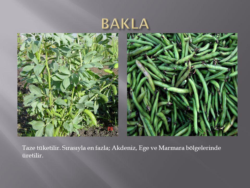 Taze tüketilir. Sırasıyla en fazla; Akdeniz, Ege ve Marmara bölgelerinde üretilir.