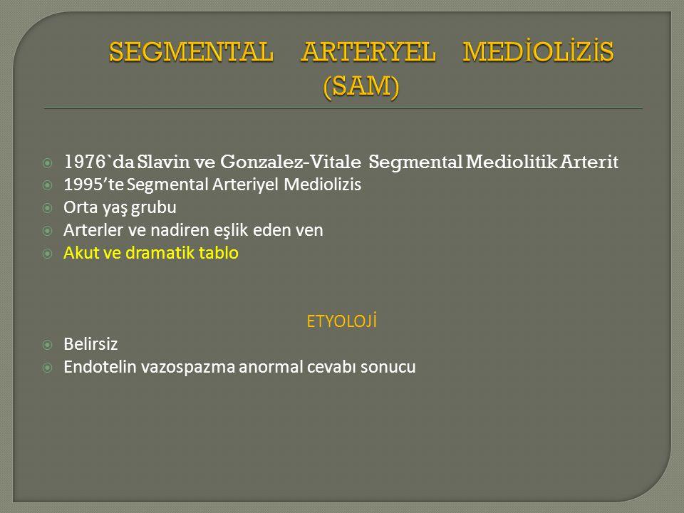  1976`da Slavin ve Gonzalez-Vitale Segmental Mediolitik Arterit  1995'te Segmental Arteriyel Mediolizis  Orta yaş grubu  Arterler ve nadiren eşlik eden ven  Akut ve dramatik tablo ETYOLOJİ  Belirsiz  Endotelin vazospazma anormal cevabı sonucu