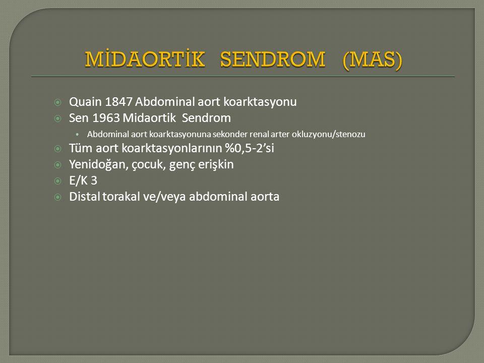  Quain 1847 Abdominal aort koarktasyonu  Sen 1963 Midaortik Sendrom Abdominal aort koarktasyonuna sekonder renal arter okluzyonu/stenozu  Tüm aort koarktasyonlarının %0,5-2'si  Yenidoğan, çocuk, genç erişkin  E/K 3  Distal torakal ve/veya abdominal aorta