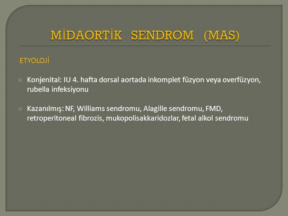 ETYOLOJİ  Konjenital: IU 4. hafta dorsal aortada inkomplet füzyon veya overfüzyon, rubella infeksiyonu  Kazanılmış: NF, Williams sendromu, Alagille