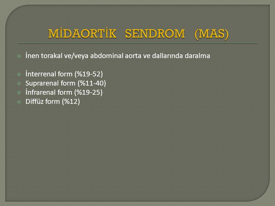  İnen torakal ve/veya abdominal aorta ve dallarında daralma  İnterrenal form (%19-52)  Suprarenal form (%11-40)  İnfrarenal form (%19-25)  Diffüz
