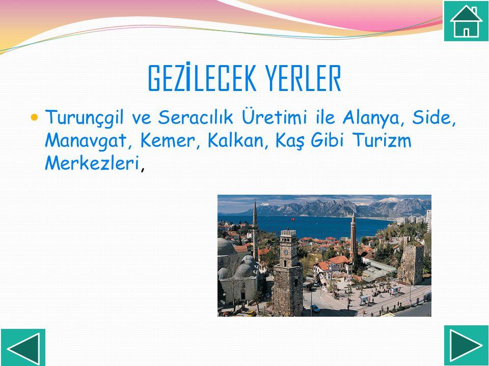 Turunçgil ve Seracılık Üretimi ile Alanya, Side, Manavgat, Kemer, Kalkan, Kaş Gibi Turizm Merkezleri,