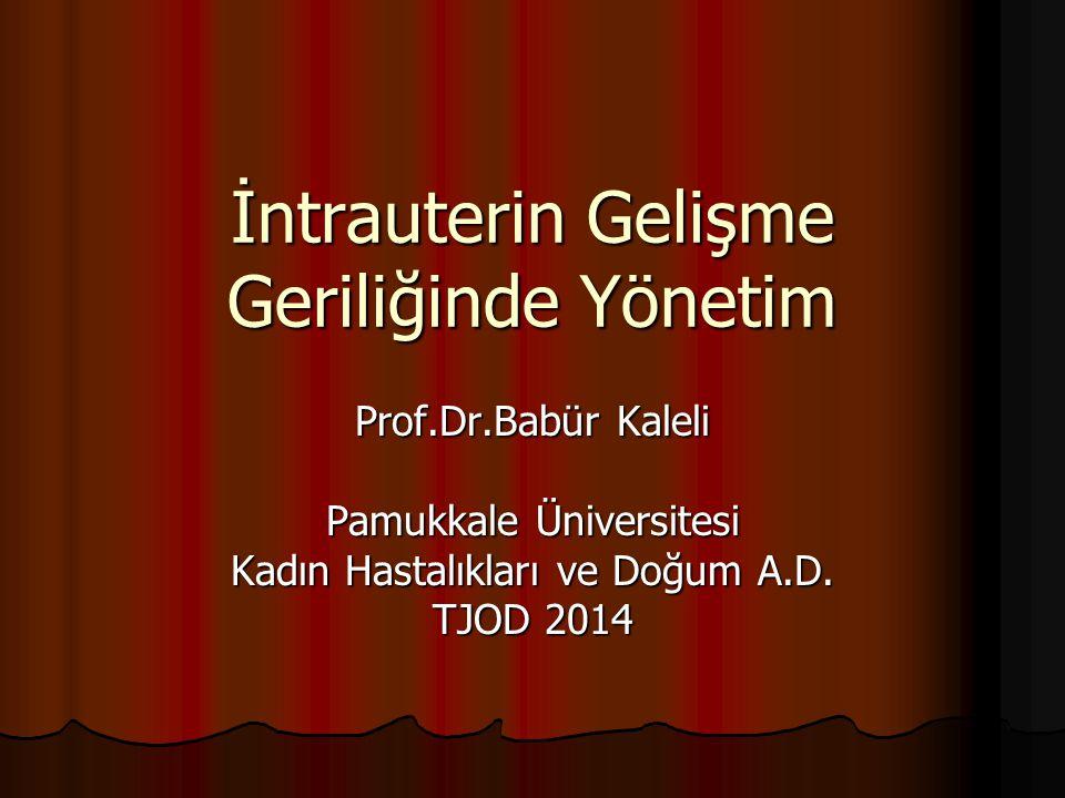 İntrauterin Gelişme Geriliğinde Yönetim Prof.Dr.Babür Kaleli Pamukkale Üniversitesi Kadın Hastalıkları ve Doğum A.D. TJOD 2014