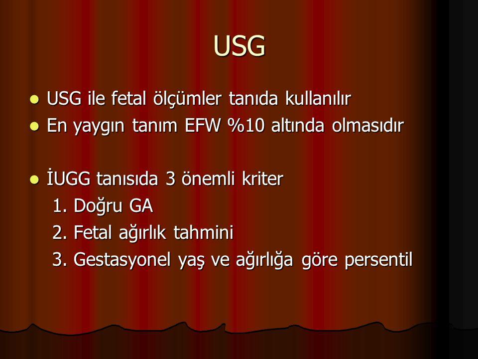 USG USG ile fetal ölçümler tanıda kullanılır USG ile fetal ölçümler tanıda kullanılır En yaygın tanım EFW %10 altında olmasıdır En yaygın tanım EFW %1