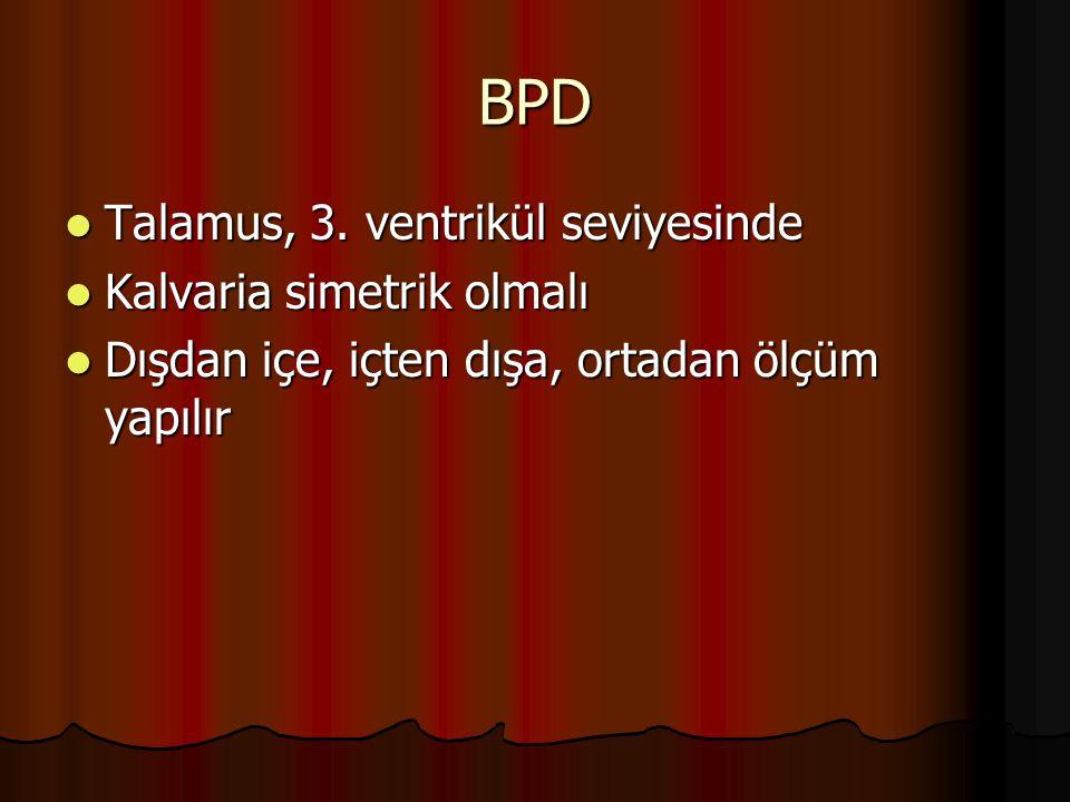 BPD Talamus, 3. ventrikül seviyesinde Talamus, 3. ventrikül seviyesinde Kalvaria simetrik olmalı Kalvaria simetrik olmalı Dışdan içe, içten dışa, orta