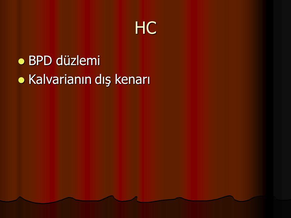 HC BPD düzlemi BPD düzlemi Kalvarianın dış kenarı Kalvarianın dış kenarı