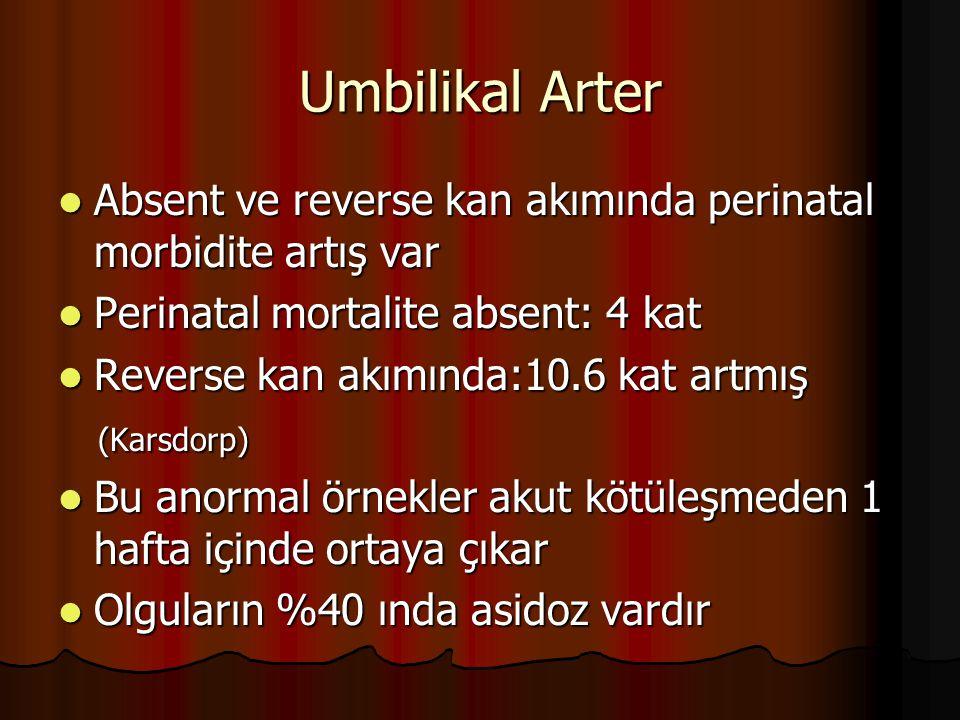 Umbilikal Arter Absent ve reverse kan akımında perinatal morbidite artış var Absent ve reverse kan akımında perinatal morbidite artış var Perinatal mo