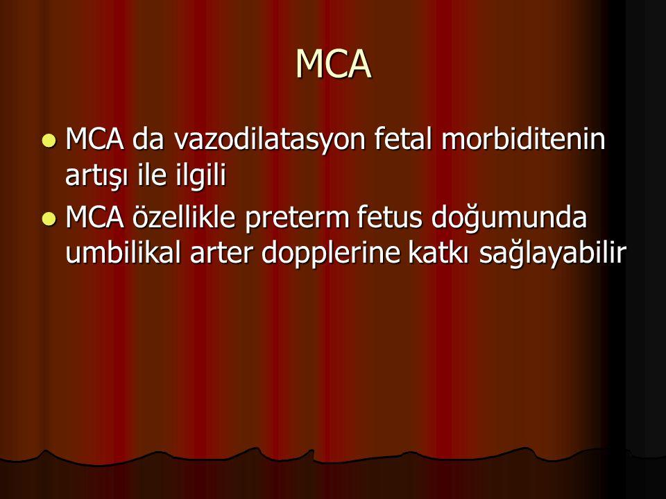 MCA MCA da vazodilatasyon fetal morbiditenin artışı ile ilgili MCA da vazodilatasyon fetal morbiditenin artışı ile ilgili MCA özellikle preterm fetus