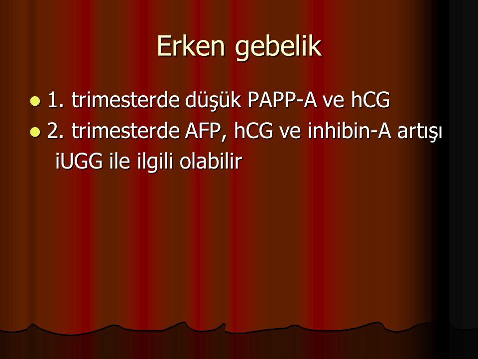 Erken gebelik 1. trimesterde düşük PAPP-A ve hCG 1. trimesterde düşük PAPP-A ve hCG 2. trimesterde AFP, hCG ve inhibin-A artışı 2. trimesterde AFP, hC