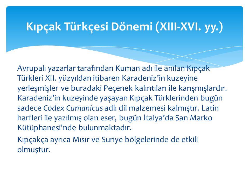 Avrupalı yazarlar tarafından Kuman adı ile anılan Kıpçak Türkleri XII.