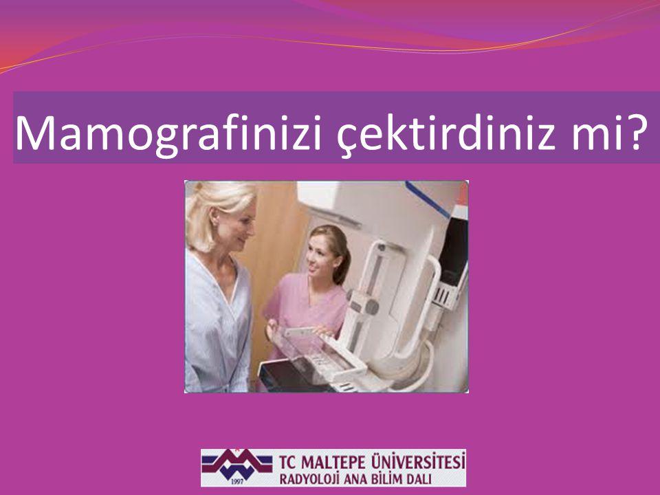 Amerikan Radyoloji Derneği ve Türk Radyoloji Derneği; 40 yaşın üzerindeki her kadına, meme kanserinin erken yakalanması için, düzenli olarak yıllık mamografi tetkiki yaptırmalarını önermektedir.