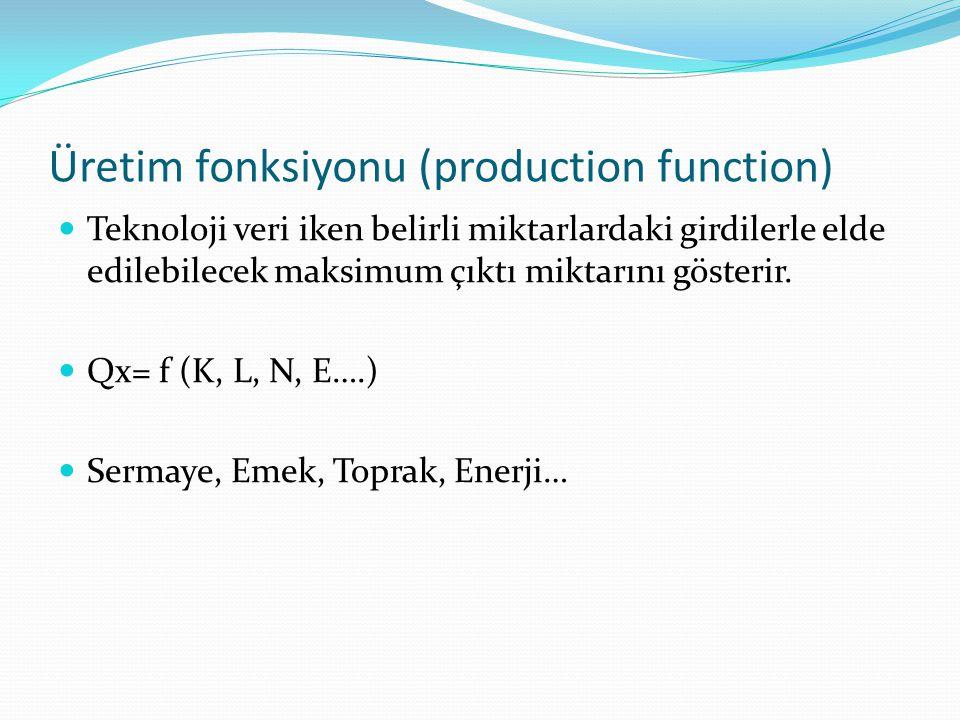 Üretim fonksiyonu (production function) Teknoloji veri iken belirli miktarlardaki girdilerle elde edilebilecek maksimum çıktı miktarını gösterir.