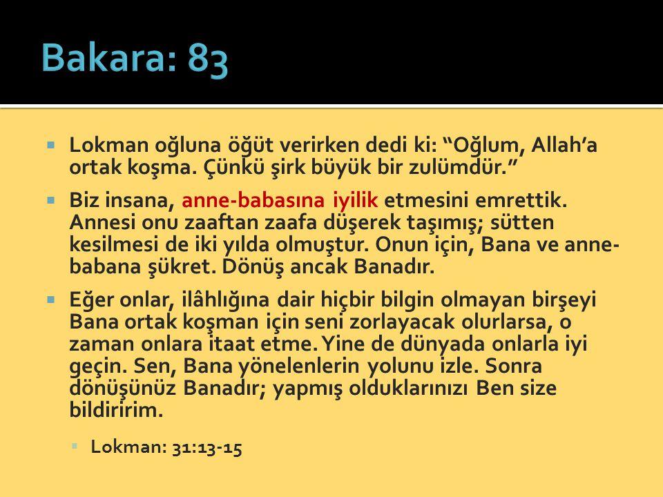 """ Lokman oğluna öğüt verirken dedi ki: """"Oğlum, Allah'a ortak koşma. Çünkü şirk büyük bir zulümdür.""""  Biz insana, anne-babasına iyilik etmesini emrett"""