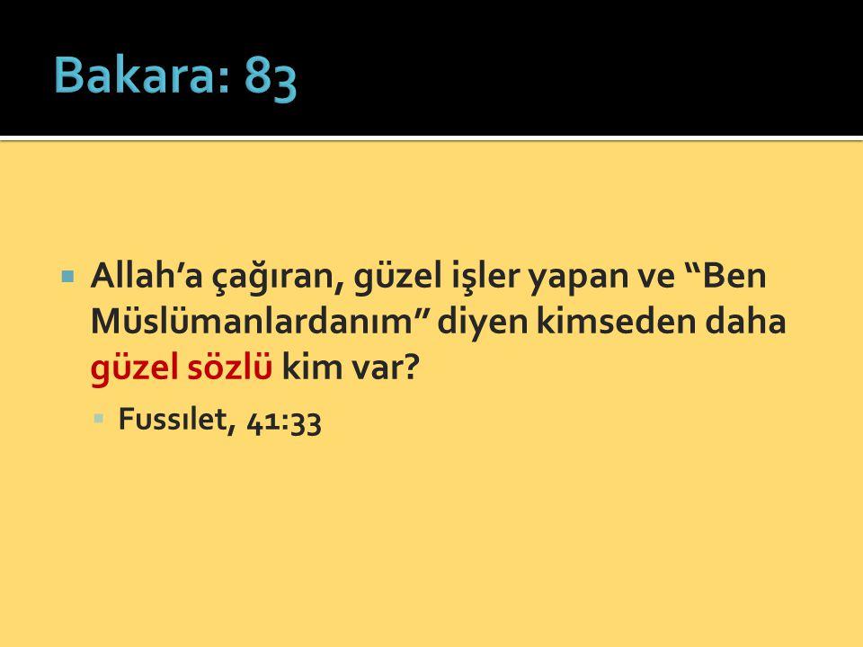 """ Allah'a çağıran, güzel işler yapan ve """"Ben Müslümanlardanım"""" diyen kimseden daha güzel sözlü kim var?  Fussılet, 41:33"""