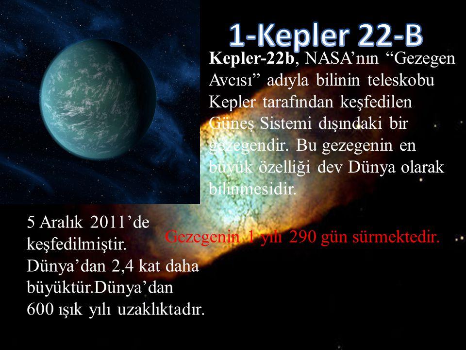 """Kepler-22b, NASA'nın """"Gezegen Avcısı"""" adıyla bilinin teleskobu Kepler tarafından keşfedilen Güneş Sistemi dışındaki bir gezegendir. Bu gezegenin en bü"""