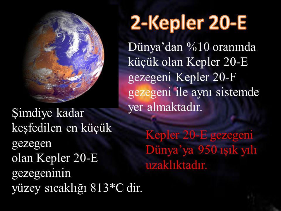 Dünya'dan %10 oranında küçük olan Kepler 20-E gezegeni Kepler 20-F gezegeni ile aynı sistemde yer almaktadır. Şimdiye kadar keşfedilen en küçük gezege