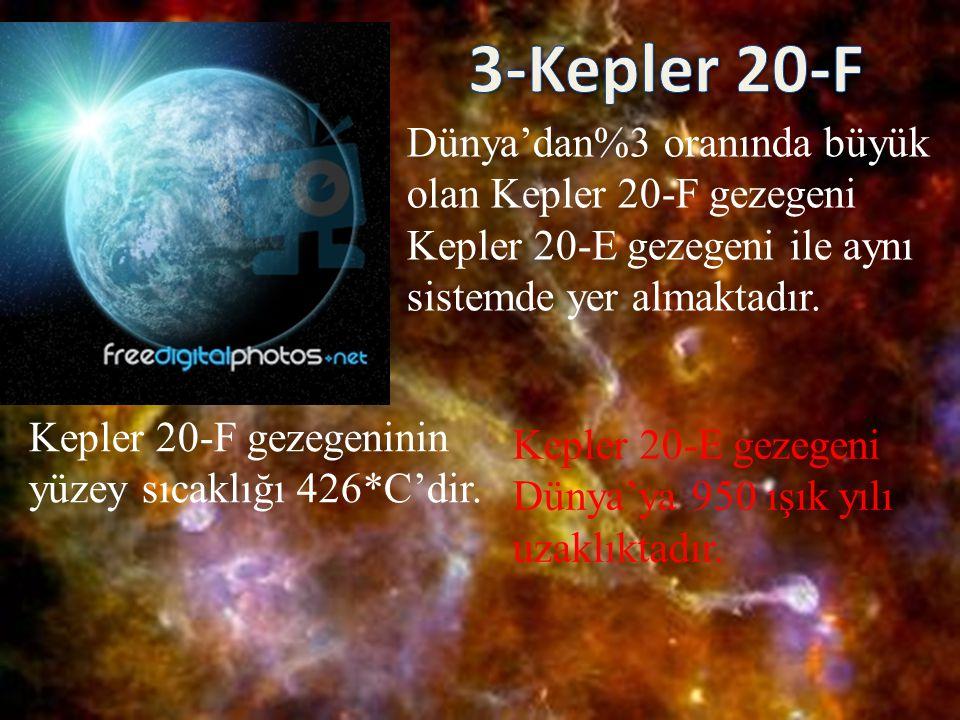 Dünya'dan%3 oranında büyük olan Kepler 20-F gezegeni Kepler 20-E gezegeni ile aynı sistemde yer almaktadır. Kepler 20-F gezegeninin yüzey sıcaklığı 42