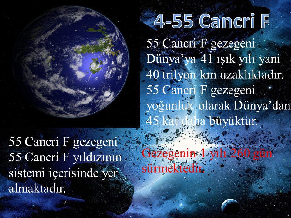 55 Cancri F gezegeni Dünya'ya 41 ışık yılı yani 40 trilyon km uzaklıktadır. 55 Cancri F gezegeni yoğunluk olarak Dünya'dan 45 kat daha büyüktür. 55 Ca