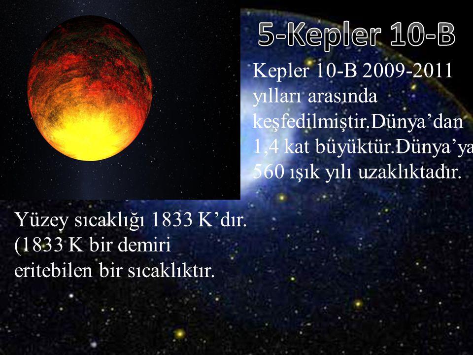 Kepler 10-B 2009-2011 yılları arasında keşfedilmiştir.Dünya'dan 1,4 kat büyüktür.Dünya' ya 560 ışık yılı uzaklıktadır. Yüzey sıcaklığı 1833 K'dır. (18